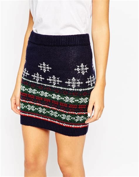 lyst asos co ord knitted skirt in christmas fair isle in