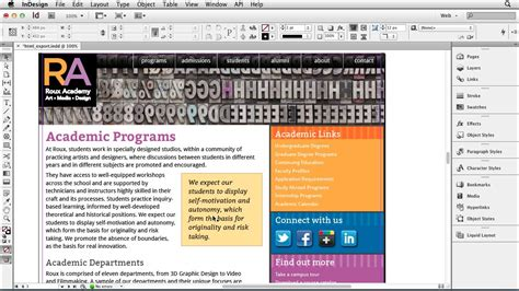 web design layout in indesign indesign for web design