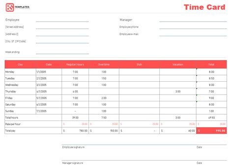 time card templates for word time card template free time sheet template in excel