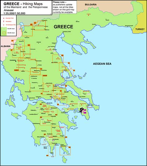 where is the map greece anavasi hiking maps of the mainland and