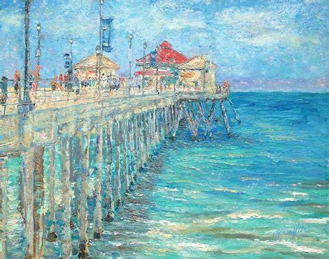 huntington beach pier painting  yoko collin