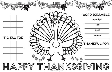 thanksgiving coloring placemats thanksgiving placemat for free printable diy