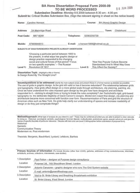 graphic design dissertation proposal exle dissertation proposal form