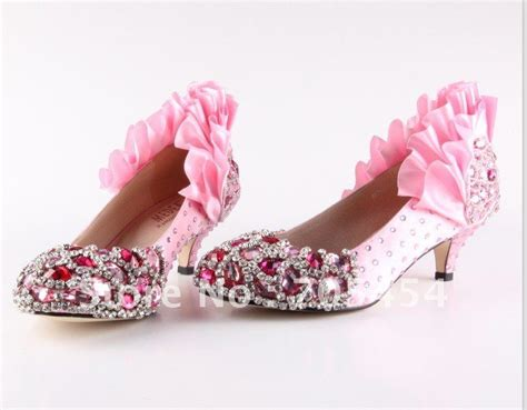 Murano Sandal Heels 5 Cm Pink bs347 free shipping custom make 5cm low heel pink crystals bridal shoes rhinestones wedding
