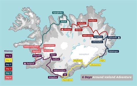 day map 6 day package tour of iceland guided tours iceland