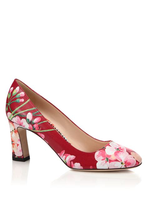 gucci marine floral leather pumps in pink lyst