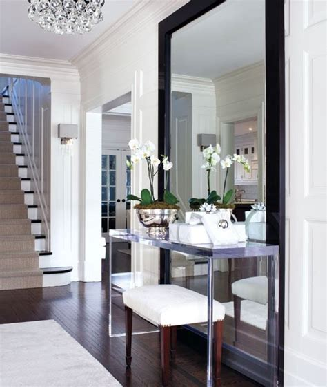 clean mirror to the floor lucite console entry pinterest beautiful entryway ideas and