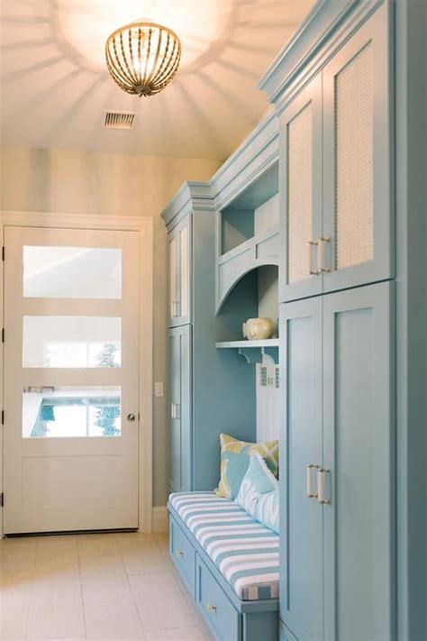 blue mudroom cabinets with built in bench cottage laundry room benjamin marlboro blue