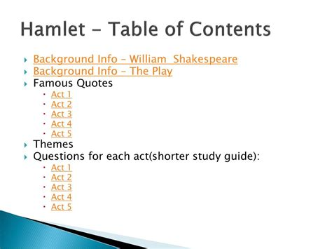 major themes in hamlet act 4 hamlet unit study guide ppt download