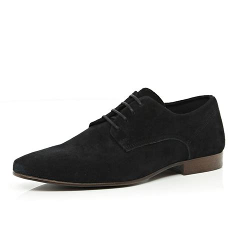 river island black suede formal lace up shoes in black for