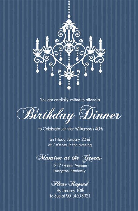 40th birthday invitations elegant chandelier blue