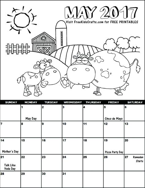 printable calendar coloring pages 2017 2017 may coloring calendar