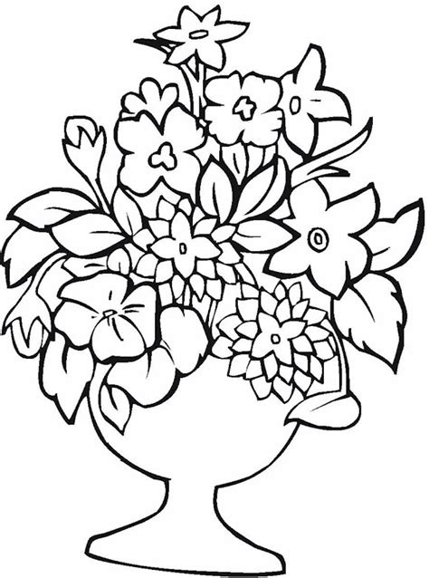 coloring pages of flowers in a vase vase pottery coloring page