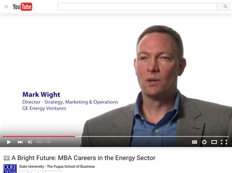 Duke Mba Career by Quot A Bright Future Mba Career Options In The Energy