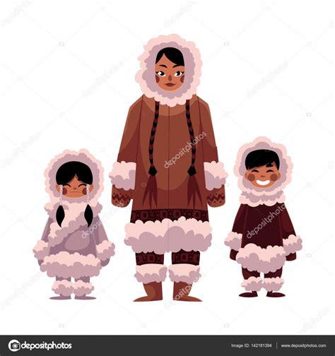 imagenes invierno calido esquimal inuit mujer con dos ni 241 os en ropa de invierno