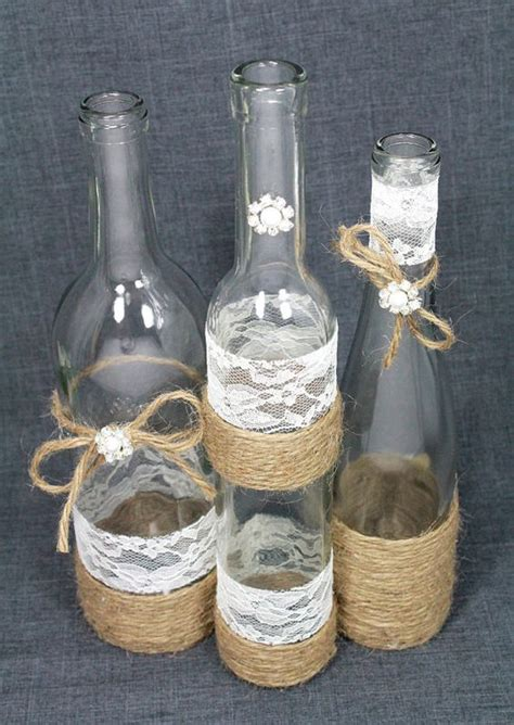 set 3 decorated wine bottle centerpiece rustic chic