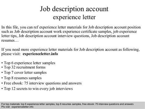 Employment Letter With Description Description Account Experience Letter