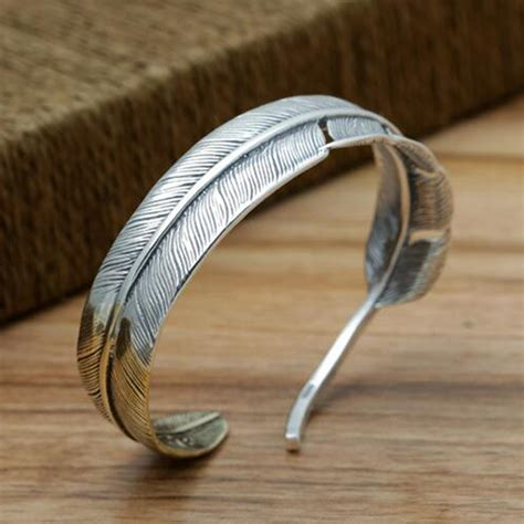 Feather Bracelet s sterling silver two tone feather cuff bracelet