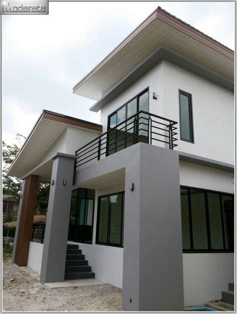 Two Storey Modern House With Two Bedrooms and Two Verandas