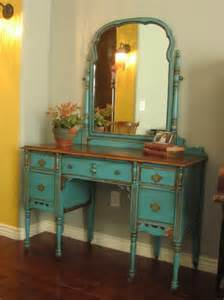 Antique Vanities For Bedrooms Bedroom Antique Turquoise Mirrored Makeup Vanity With