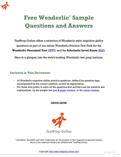 sle questions free wonderlic sle questions sle personnel