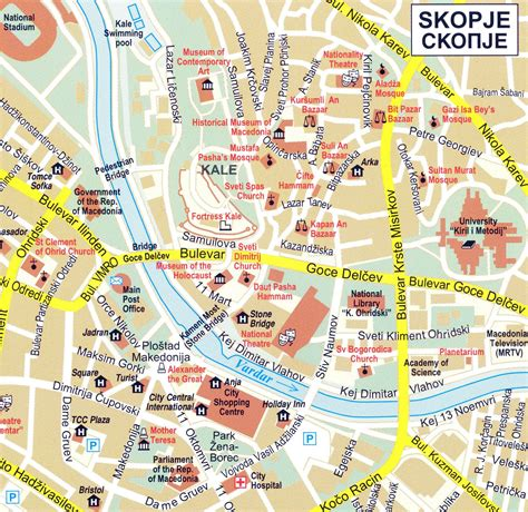 tourist map of central large detailed tourist map of central part of skopje city