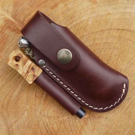 knife pouches tbs leather small folding knife belt pouch with firesteel loop