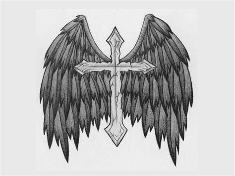 cross angel wings tattoo tattoos designs ideas and meaning tattoos for you