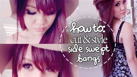 best way to part side swept bangs for oval faces how to cut style side swept bangs at home youtube