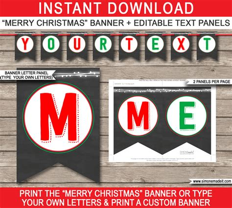 Christmas Chalkboard Printables Party Invitations Decorations Merry Banner Template