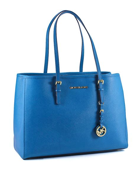 michael kors turquoise leather large east west tote