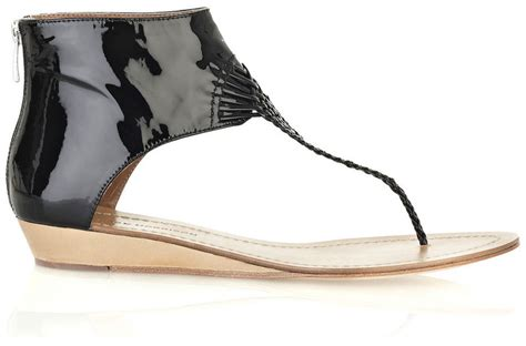 Siegerson Morrison 7069 Patent Peep Toe Wedges At Zappos Couture by Sigerson Morrison Patent Leather Sandals Your Store