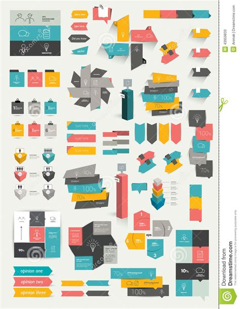 color info collections of infographics flat design template stock