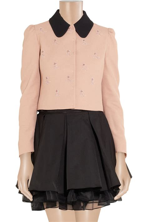 miu miu motif lyst miu miu motif crepe cropped jacket in pink
