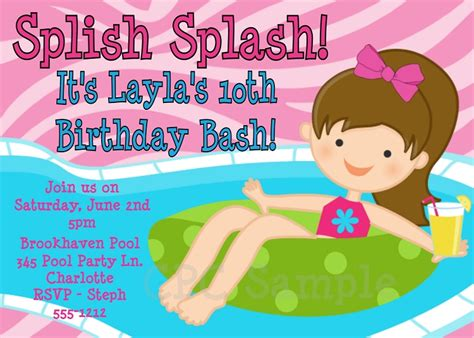 printable pool party decorations splish splash pool party invitations printable or
