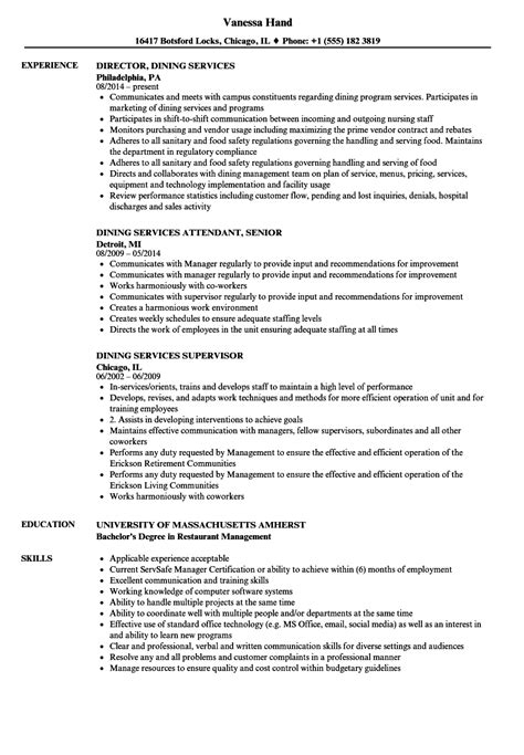 Dining Resume by Dining Services Resume Sles Velvet