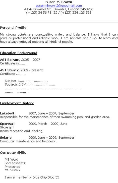 6  first job cv template   Financial Statement Form
