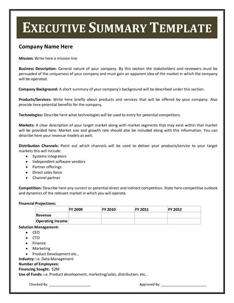 best executive summary template best photos of executive summary exles sle