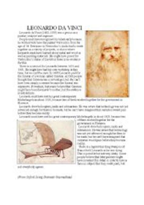leonardo da vinci biography worksheet esl worksheets for adults leonardo da vinci
