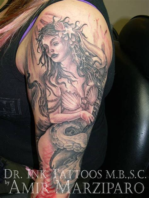 pinup mermaid tattoo black and grey mermaid by amir marziparo dr ink