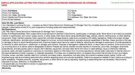 application letter warehouse clerk stock clerks stockroom warehouse or storage yard