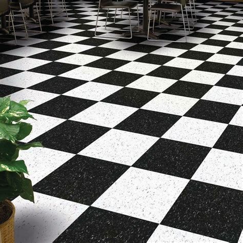 black and white linoleum tile