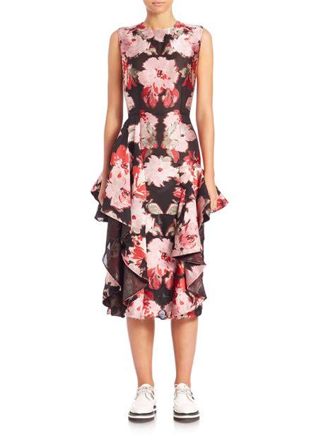 Dress Biru Flower Floral lyst mcqueen floral print ruffled silk blend dress in pink