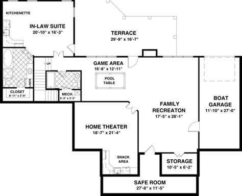 basement planning featured house plan pbh 1169 professional builder house plans