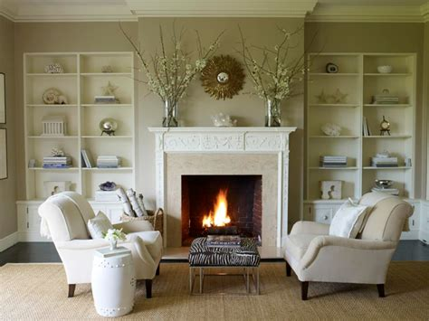 fireplace seating ideas soft brown living room shows neutral seating area set in