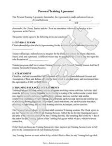 personal relationship contract template personal trainer forms personal contract