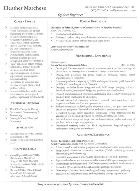 writing a resume sample optical engineer resume example sample engineer resumes