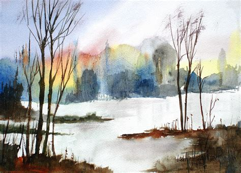 Watercolor Tutorials Larry Hamilton | water sunset study painting by larry hamilton