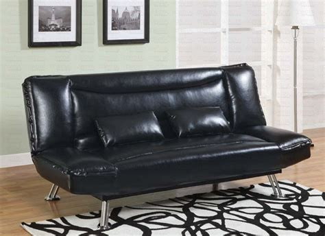 black vinyl futon black vinyl sofa bed by coaster 300144