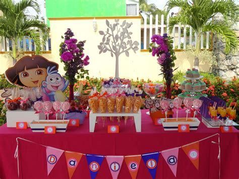 decoracion de mesas para fiestas infantiles mesa de dulces dora la exploradora decoraciones para